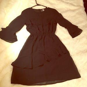 H&M Divided LBD black dress Layered Ruffles size 4